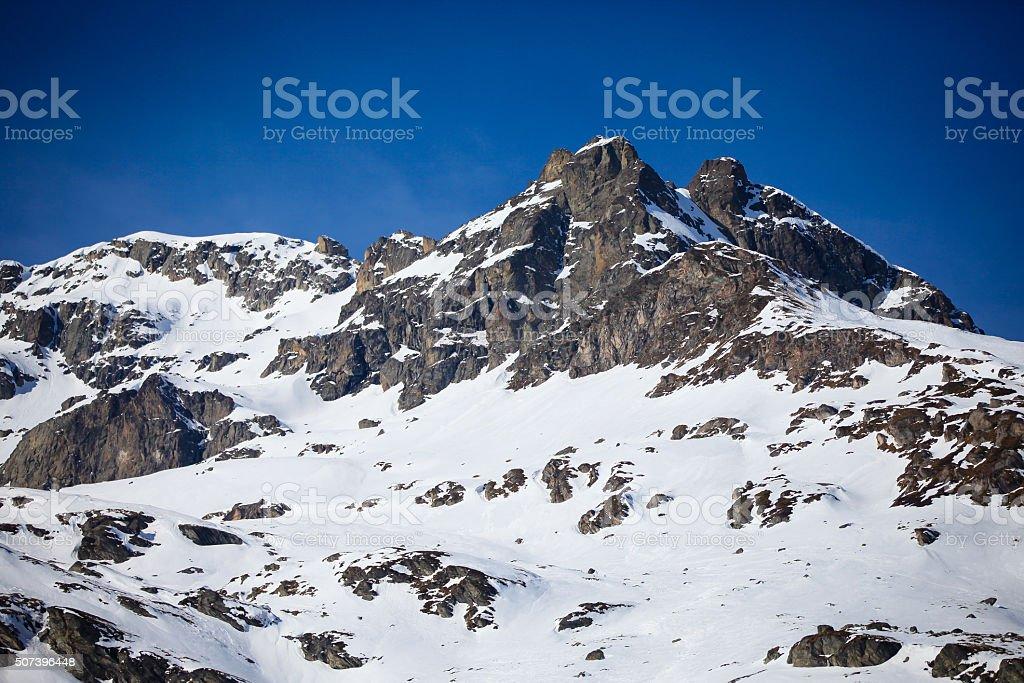 Snow Mountain in Engadin, Switzerland stock photo