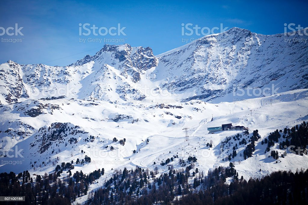 Snow Mountain in Engadin, Switzerland stock photo