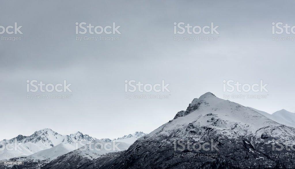 Snow mountain in winter at Alaska, USA. stock photo