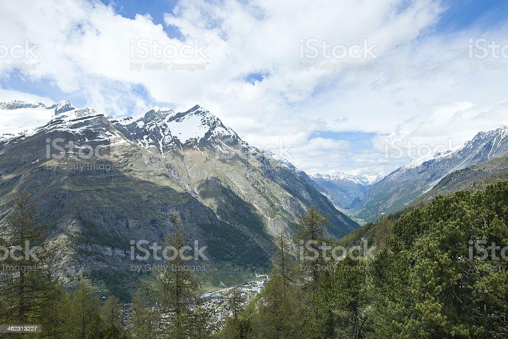 Snow Mountain in Zermatt, Switzerland stock photo