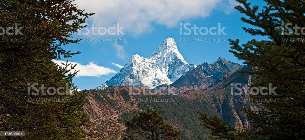Snow mountain peak Ama Dablam Tengboche monastry Khumbu Himalayas Nepal stock photo