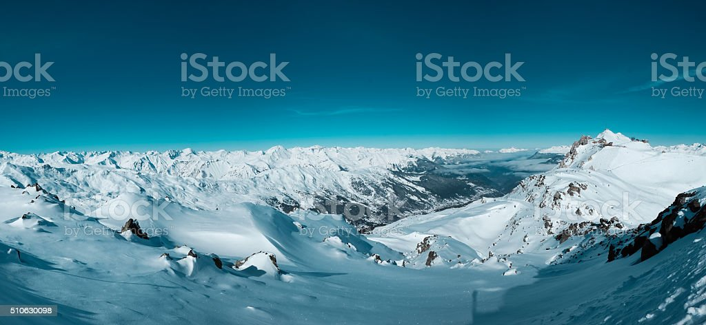 Snow Mountain Range Meribel stock photo