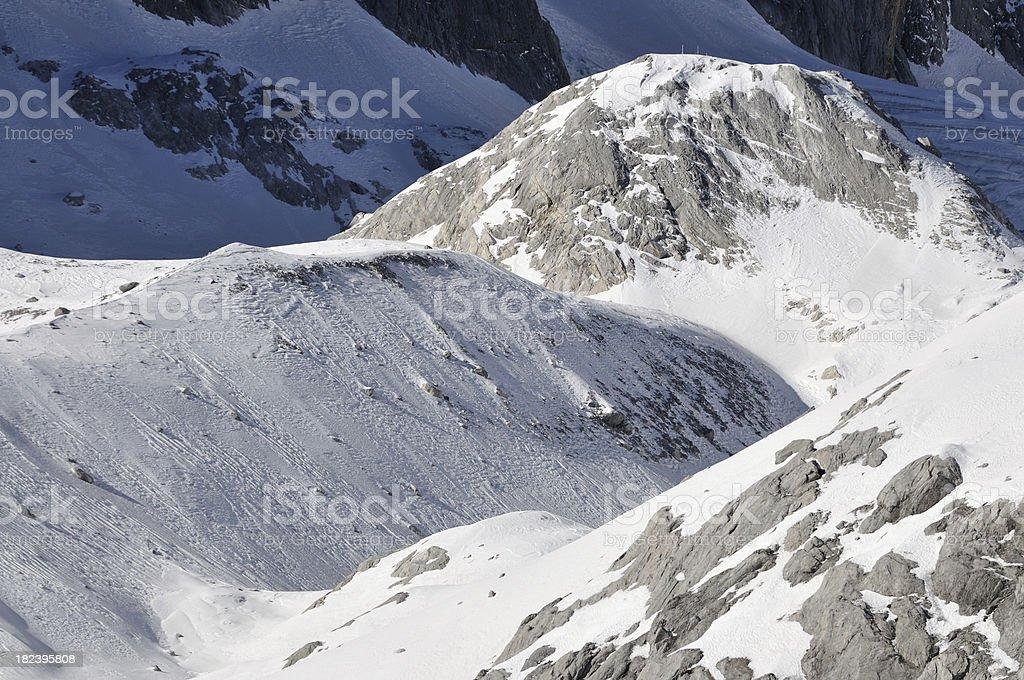 Snow mountains stock photo