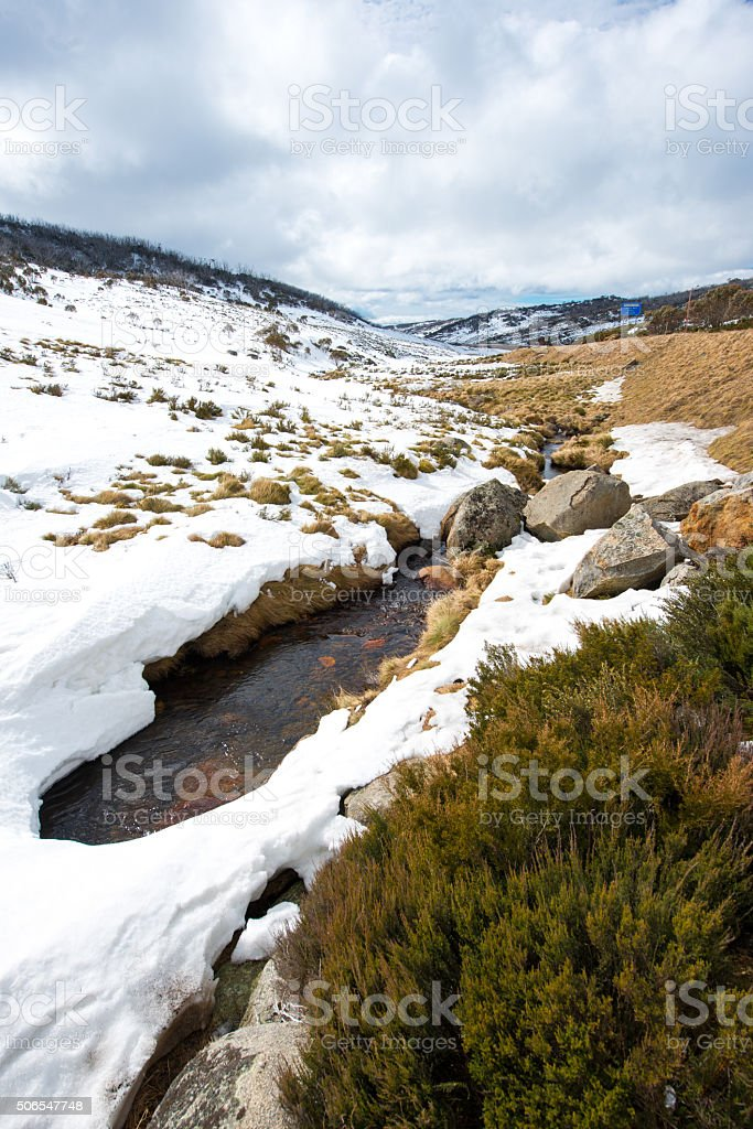 Snow moutains in Kosciuszko National Park, Australia stock photo