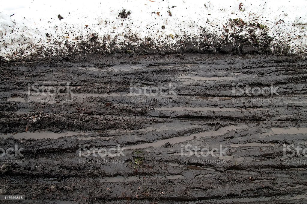 Snow Mud and Tracks stock photo
