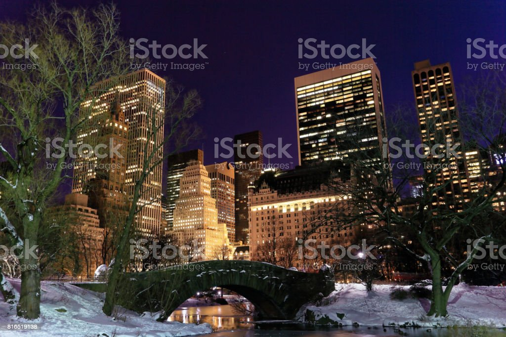Snow nightscape in Manhattan Central park stock photo