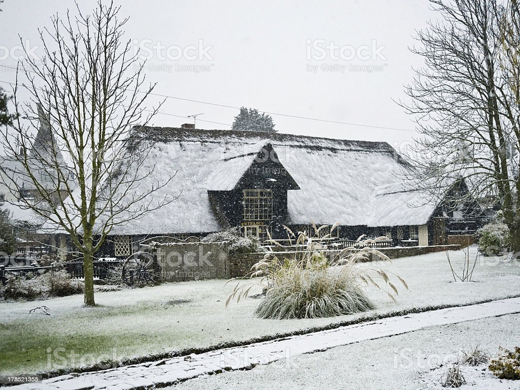 Snow on a thatched roof stock photo