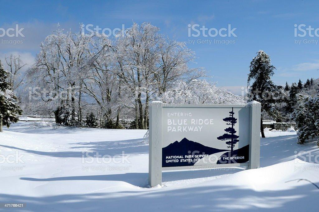Snow on Blue Ridge Parkway Winter in North Carolina Mountains stock photo