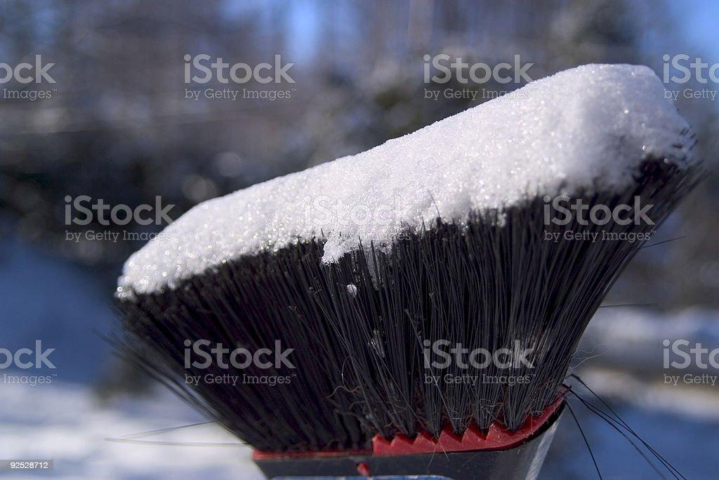 Snow On Broom royalty-free stock photo
