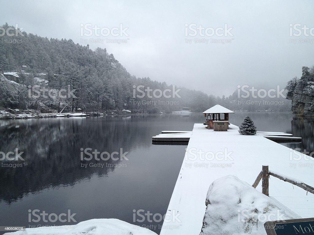 Snow on Dockhouse stock photo