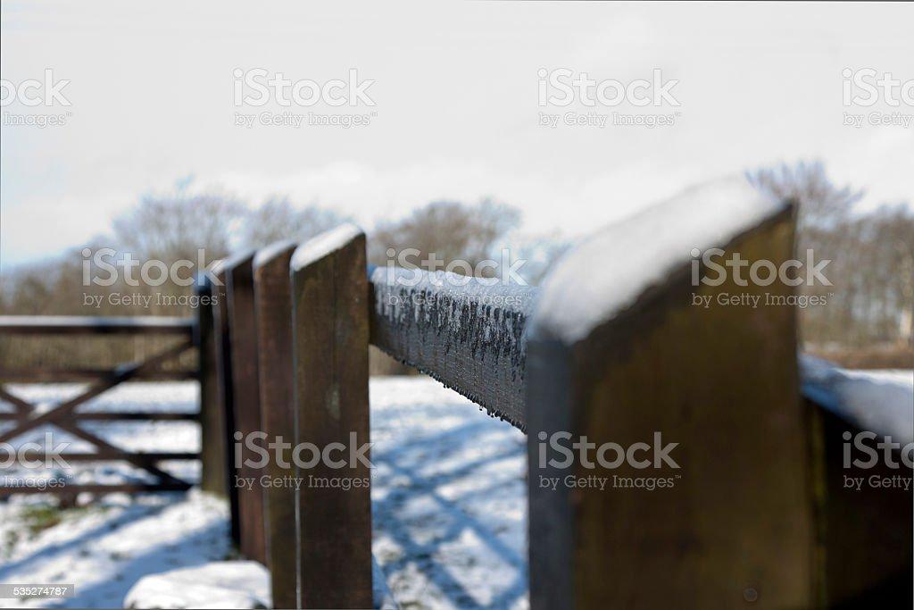 Snow on Fence stock photo