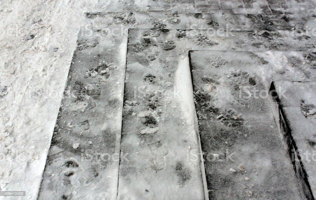 Snow on gray stairway. stock photo
