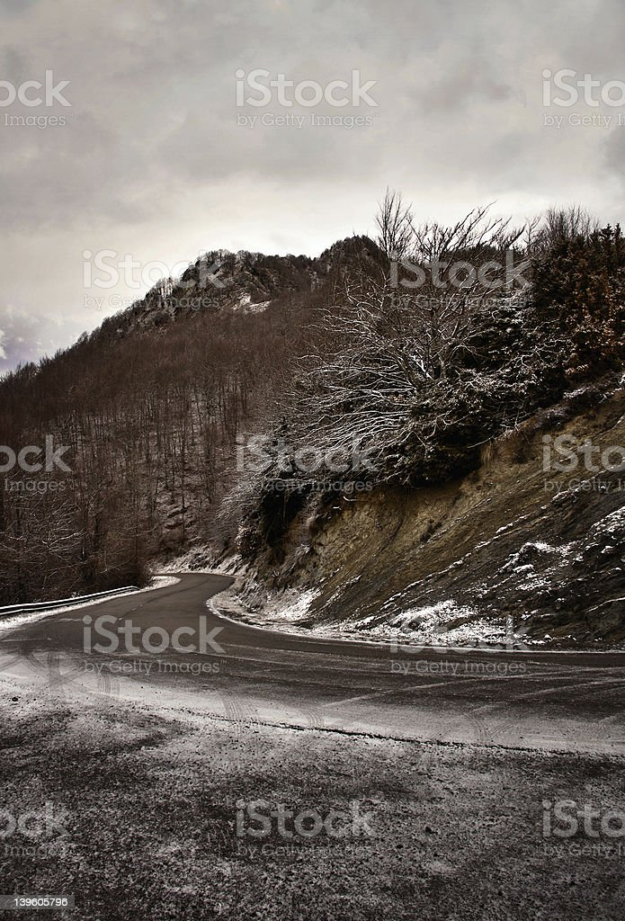 Snow on highway royalty-free stock photo