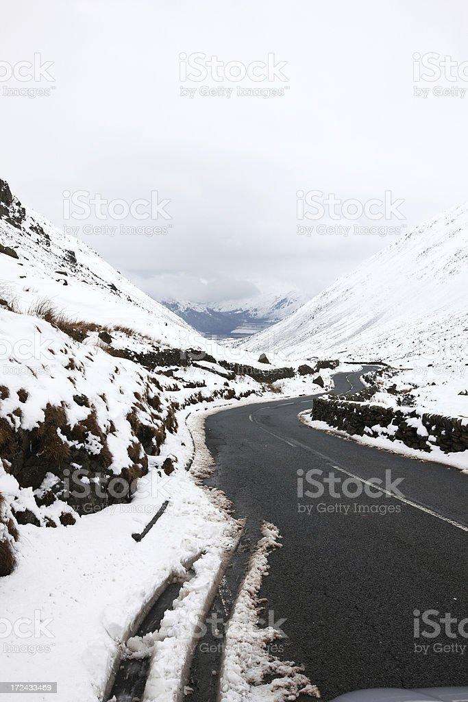 Snow on Kirkstone Pass in Lake District stock photo