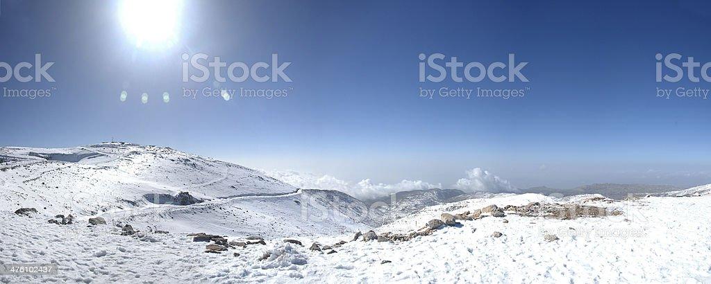 Snow on Mount Hermon, Israel stock photo