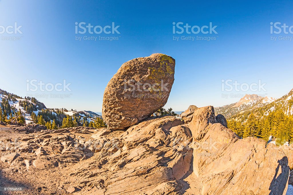 snow on Mount Lassen in the national park stock photo