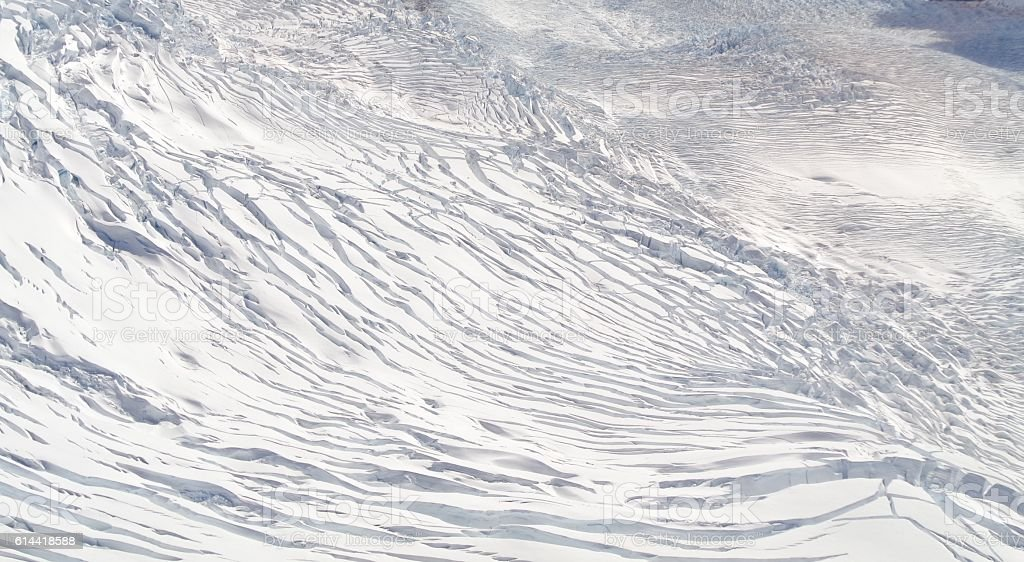 snow on mountain cracked glacier, Fox Glacier, New Zealand stock photo