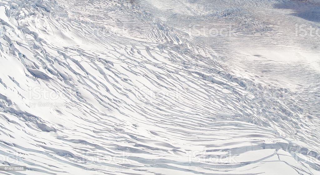 snow on mountain cracked glacier, Fox Glacier, New Zealand stock photo