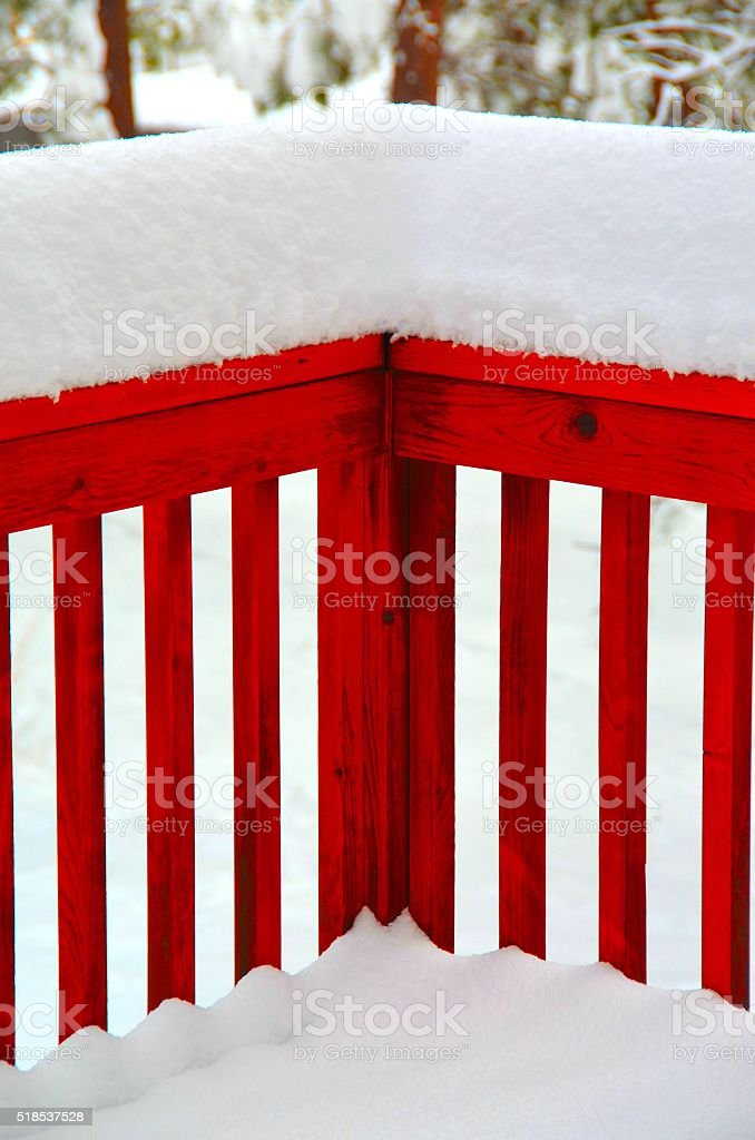 Snow on Railing stock photo
