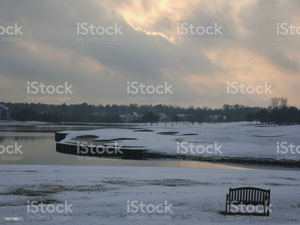 Snow on the 9th hole royalty-free stock photo