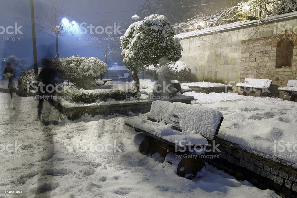 snow on the bench royalty-free stock photo