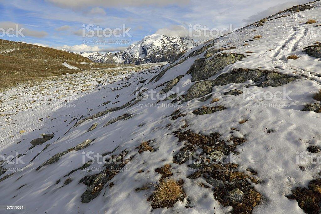 Snow on the ground - Stelvio pass Ortler alps, Italy royalty-free stock photo
