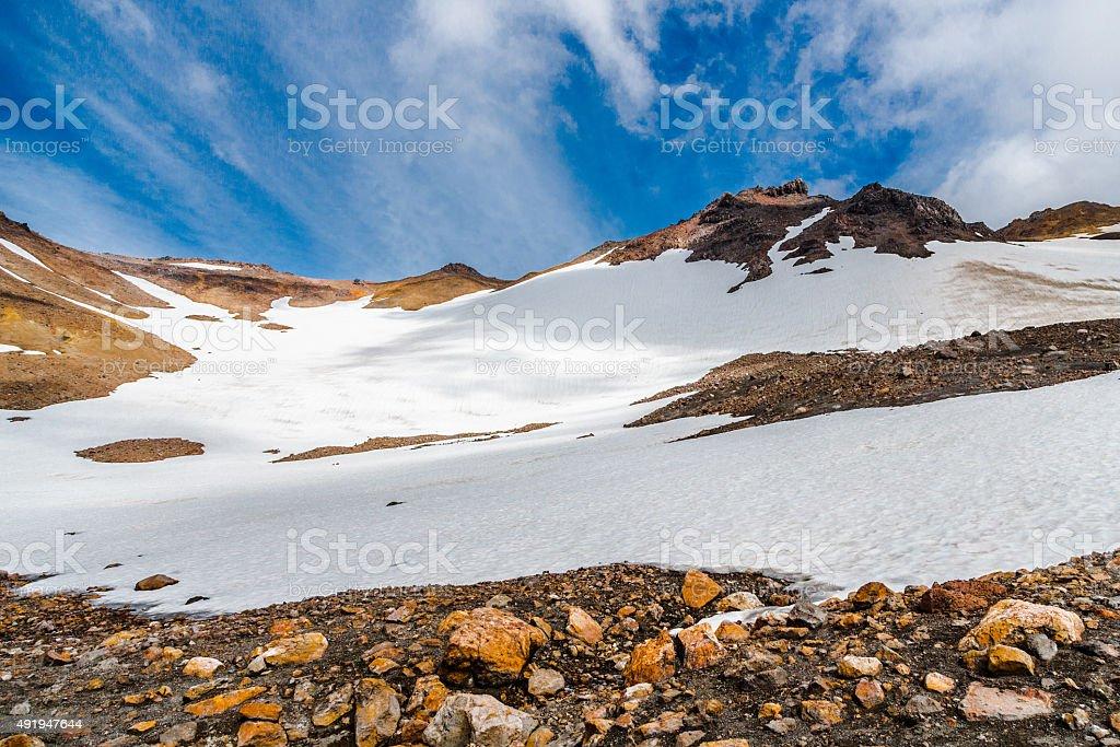 Snow on the Mountain Slope stock photo