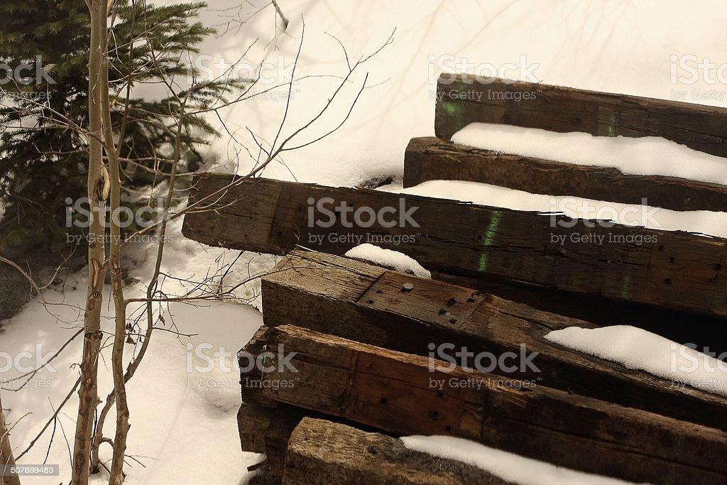 Snow on the railroad stock photo