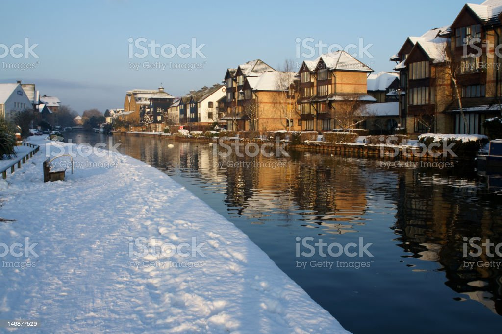 Snow on the River Lea royalty-free stock photo