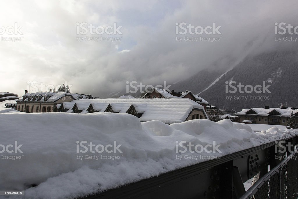 Snow on the roofs in France royalty-free stock photo