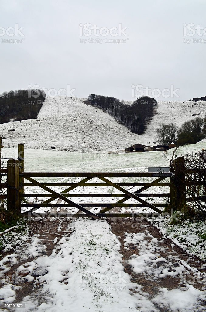 Snow on the Sussex Southdowns. stock photo