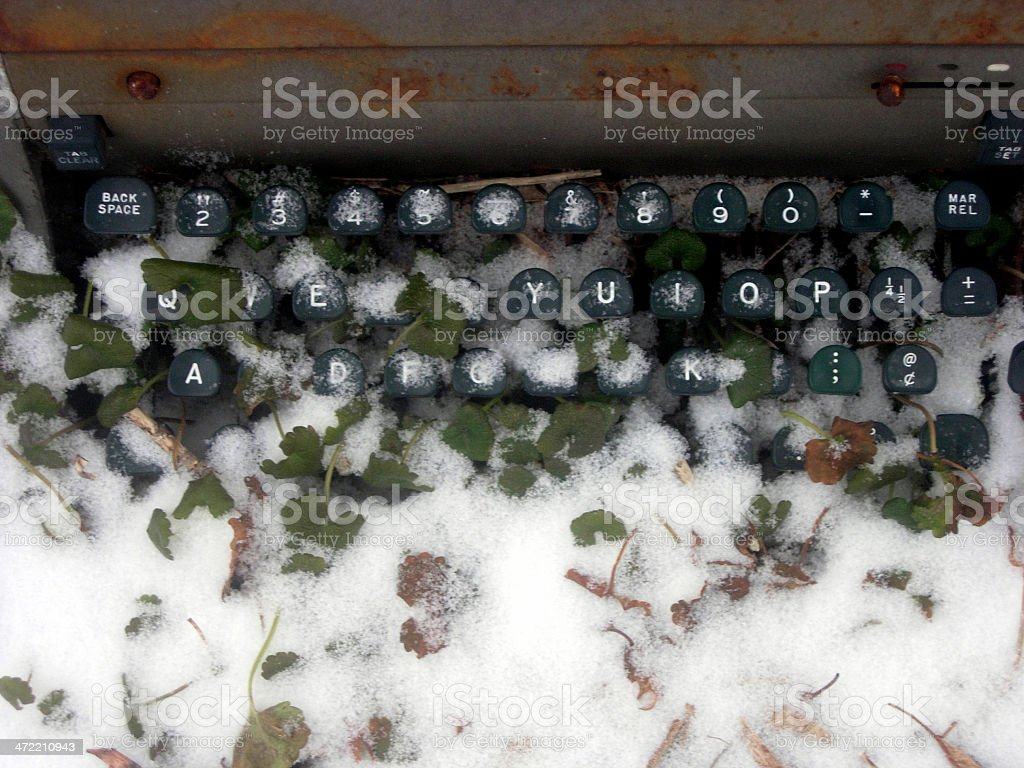 Snow on Typewriter stock photo
