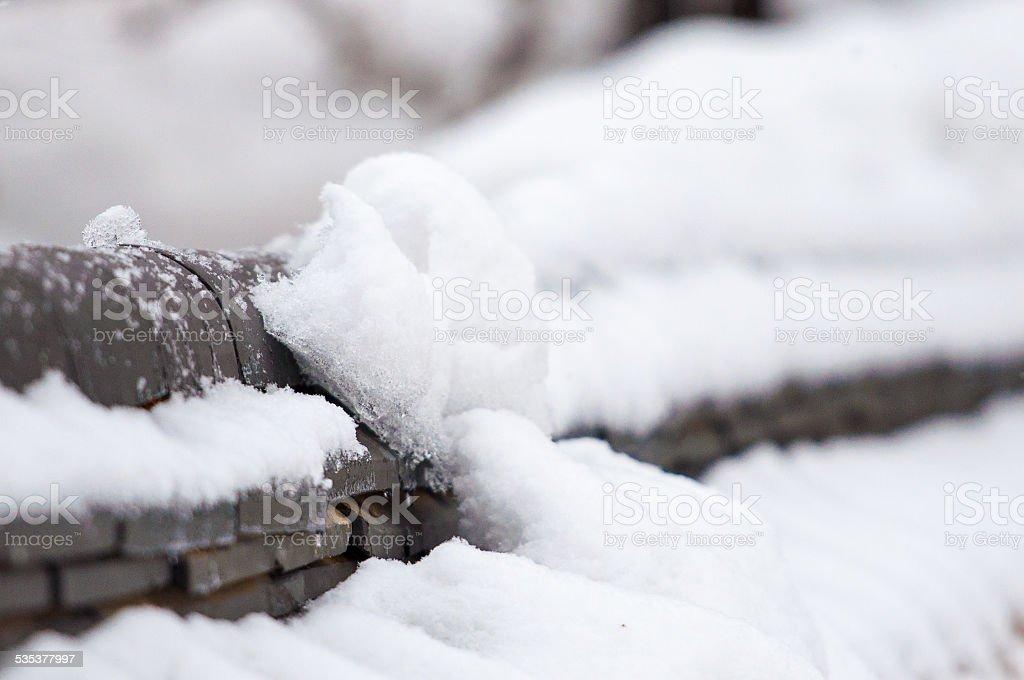 Śnieg na ścianie. zbiór zdjęć royalty-free