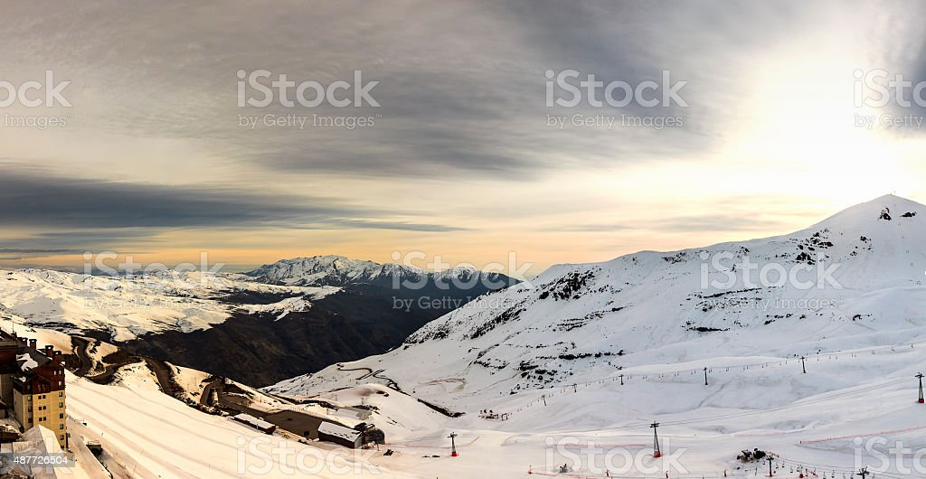 Snow over Andes Mountain Range in Valle Nevado, Chile stock photo