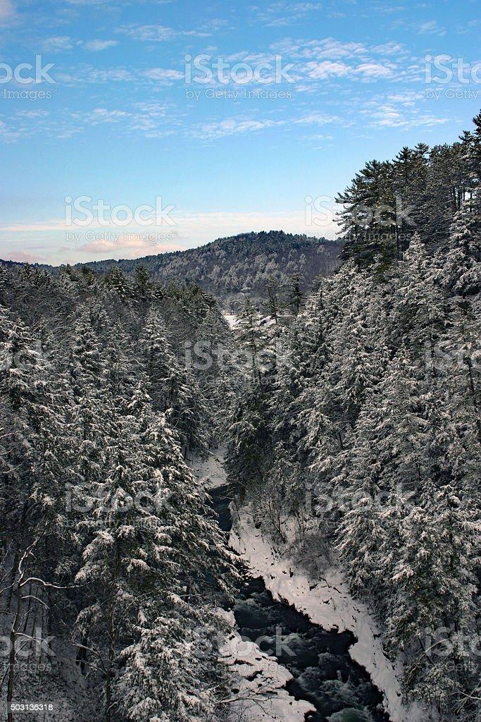 Snow mountains du Vermont sur le fleuve photo libre de droits