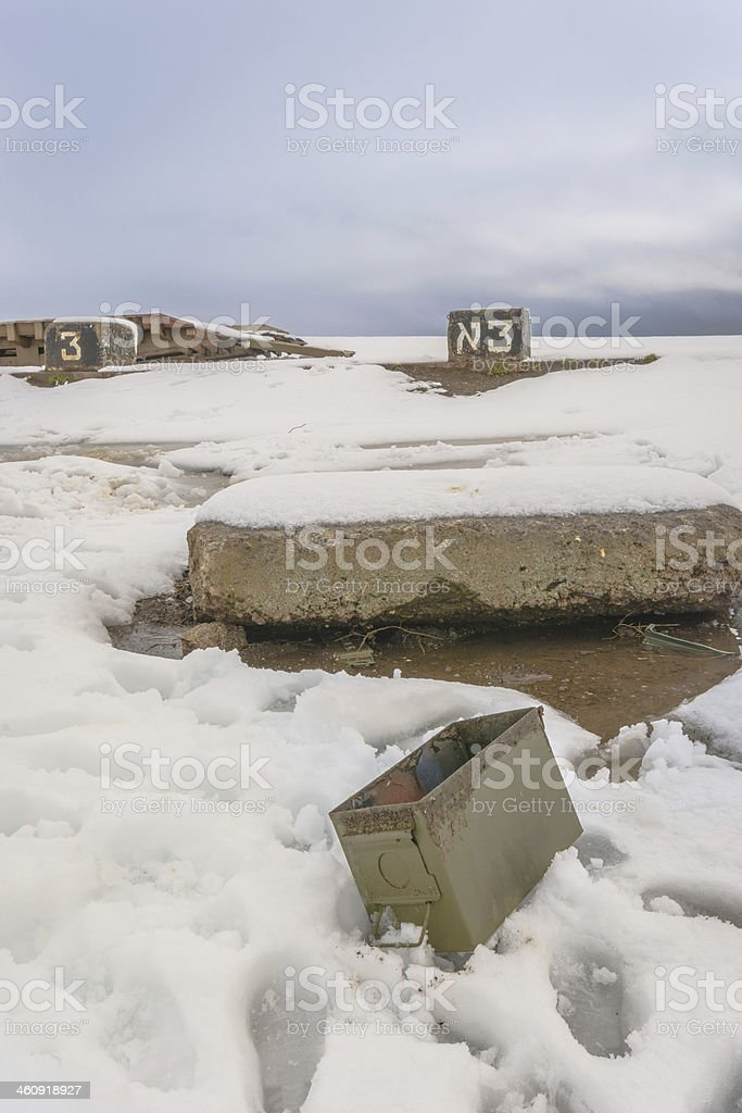 Snow over the Golan Hights stock photo