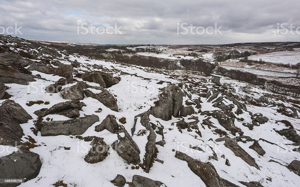 Snow over the North York Moors, Yorkshire, UK. stock photo
