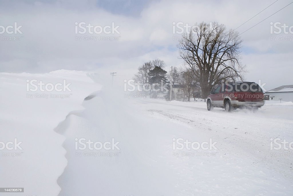 Snow Packed Road stock photo