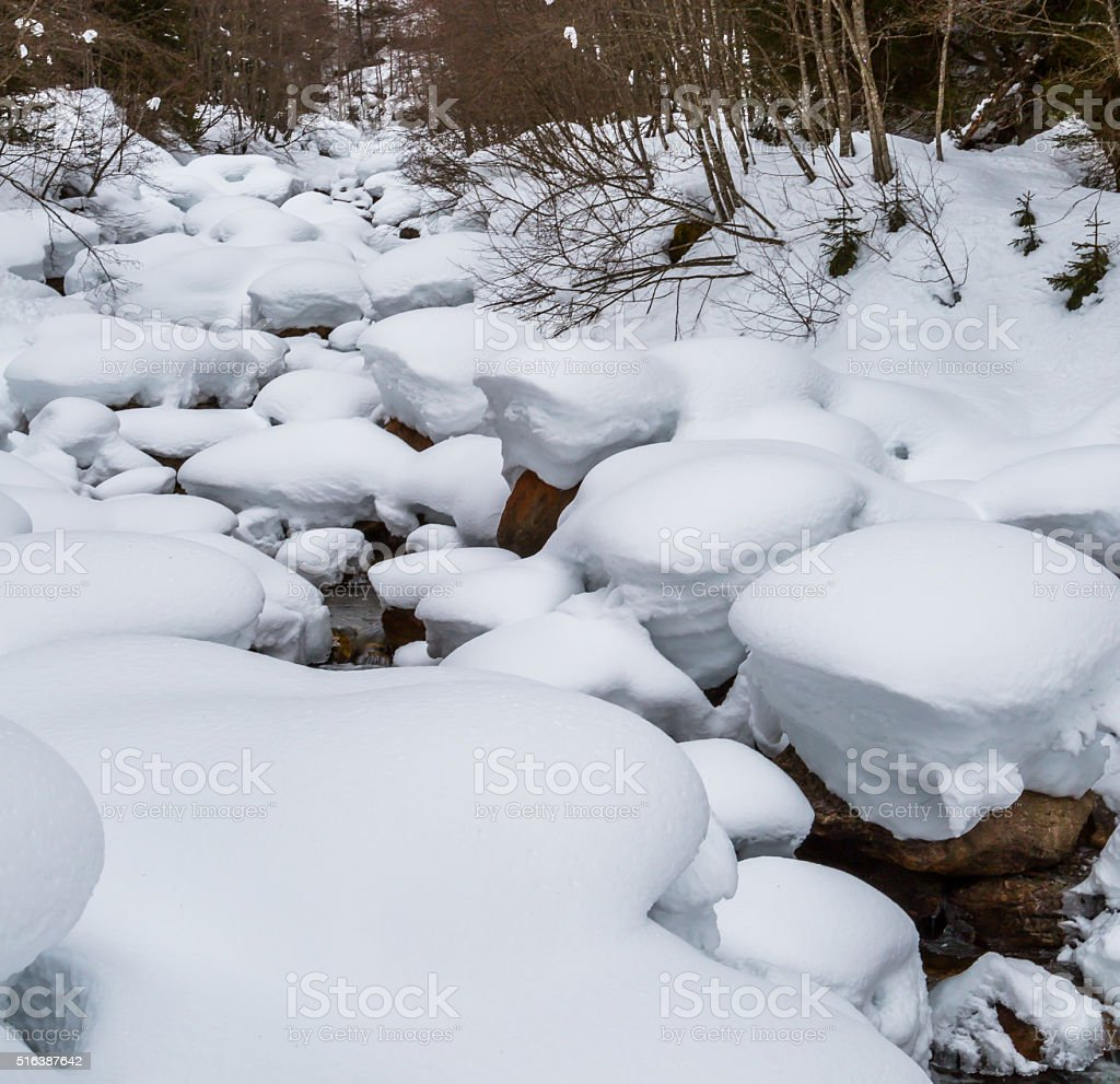 Snow packed winterstream stock photo