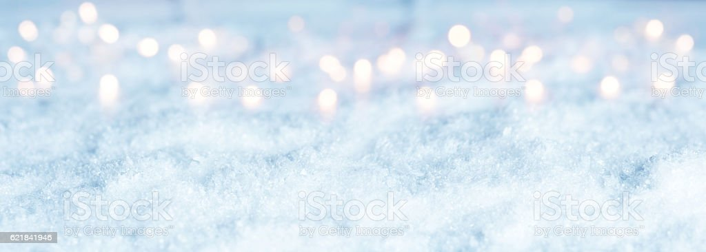 Snow panorama with light points stock photo
