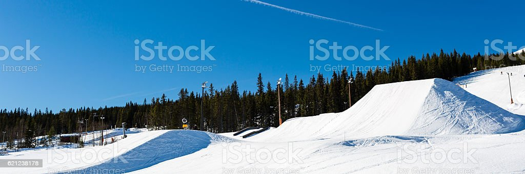 Snow park in Trysil stock photo