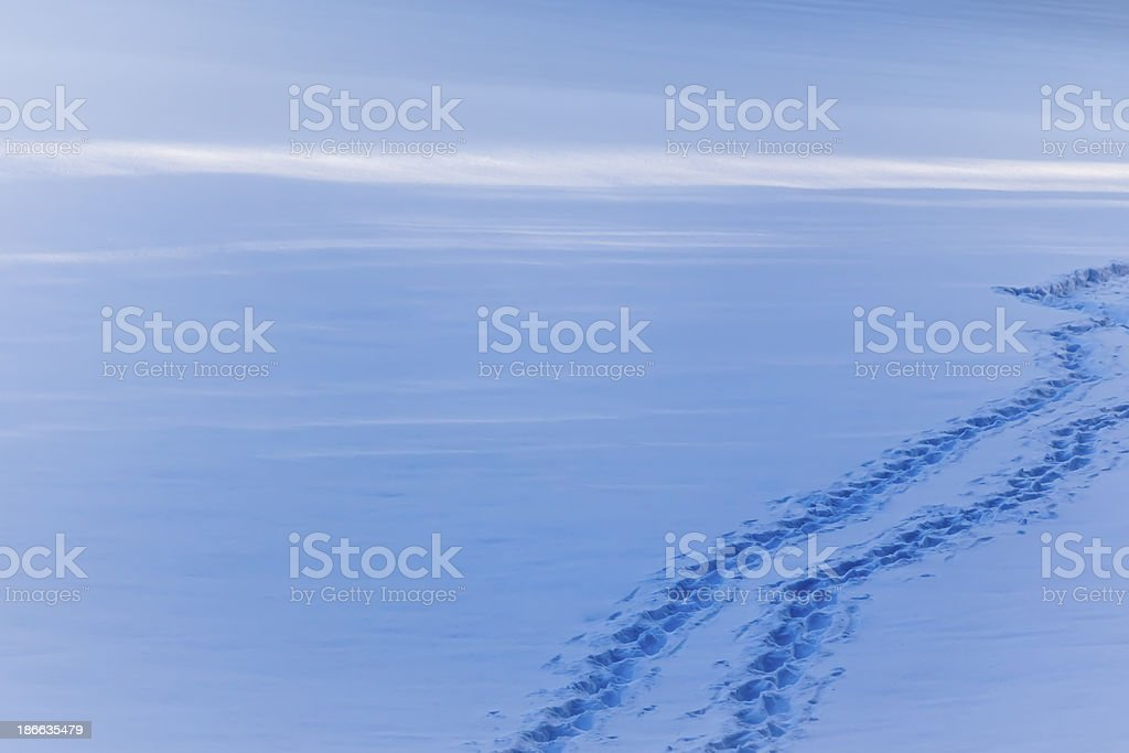Snow path with footsteps in winter stock photo