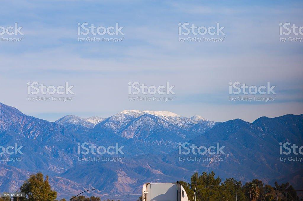 Snow peaks in California stock photo