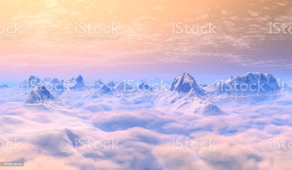 snow peaks, view from above the clouds. stock photo