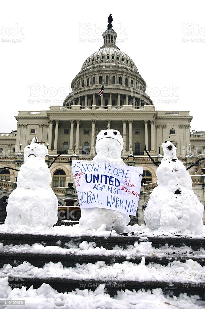 Snow People United Against Global Warming stock photo