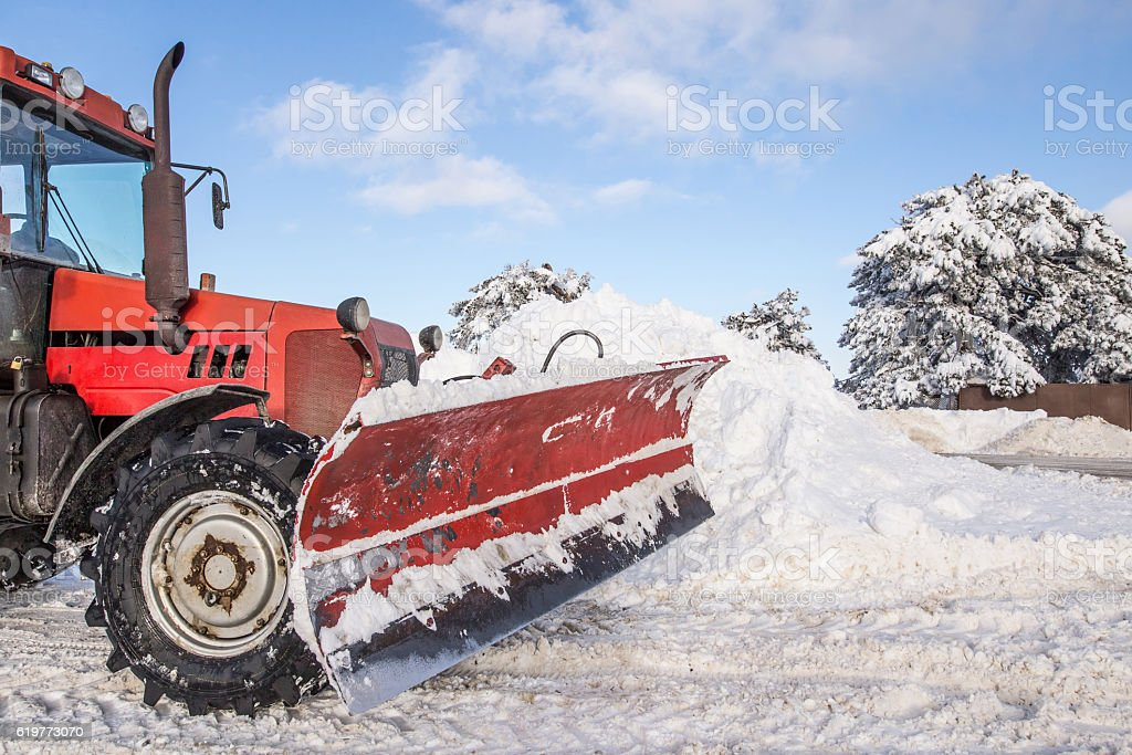 Snow plough machine stock photo