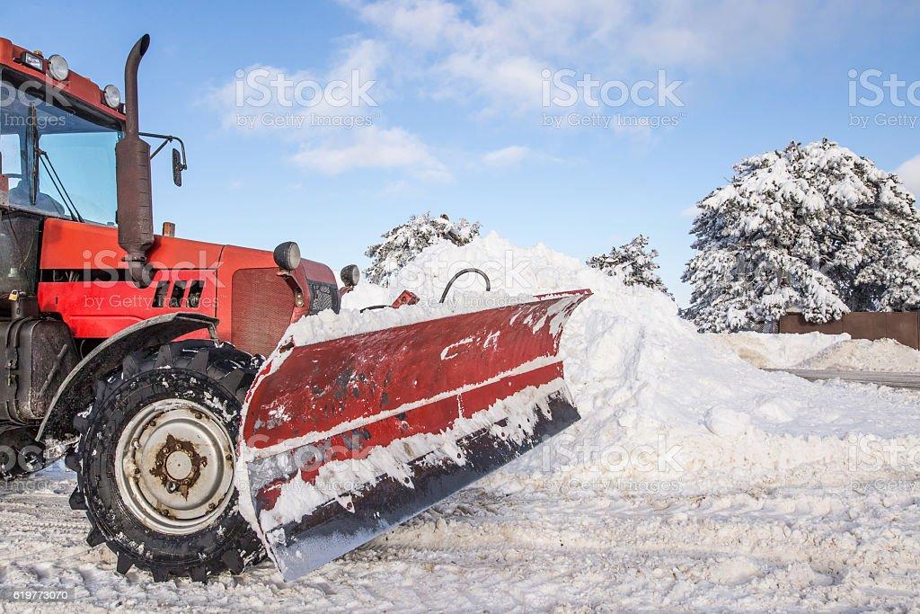 Snow plough machine stock photo