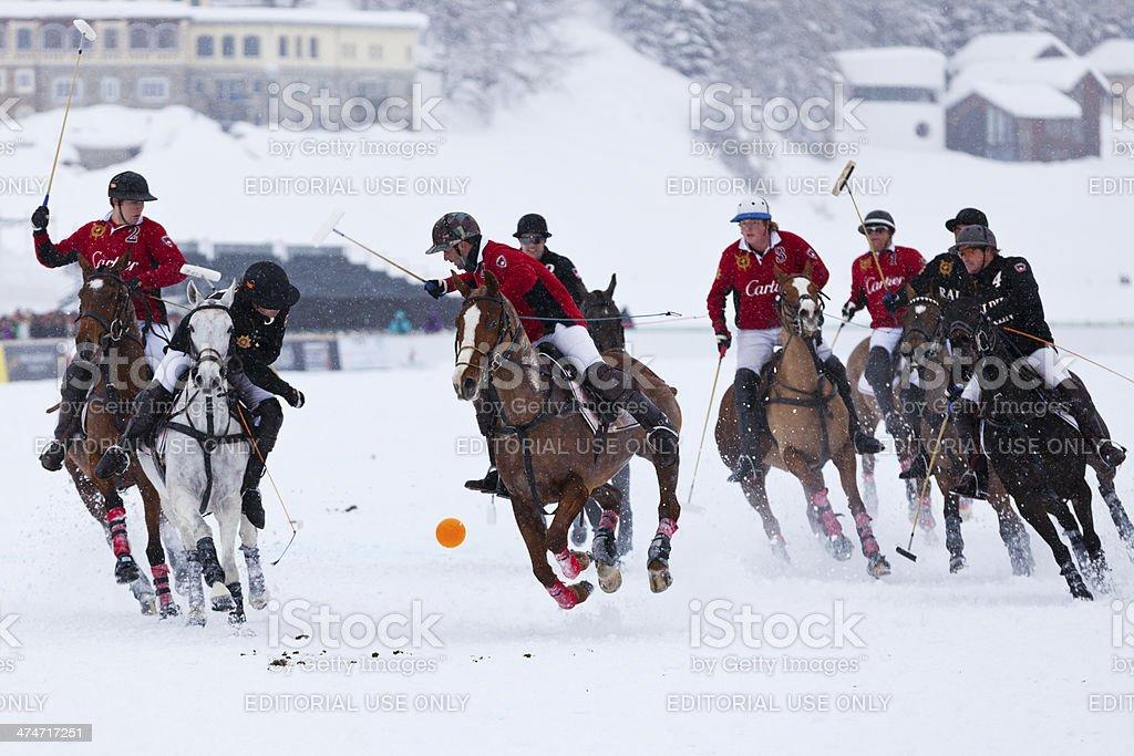 Snow Polo Action stock photo