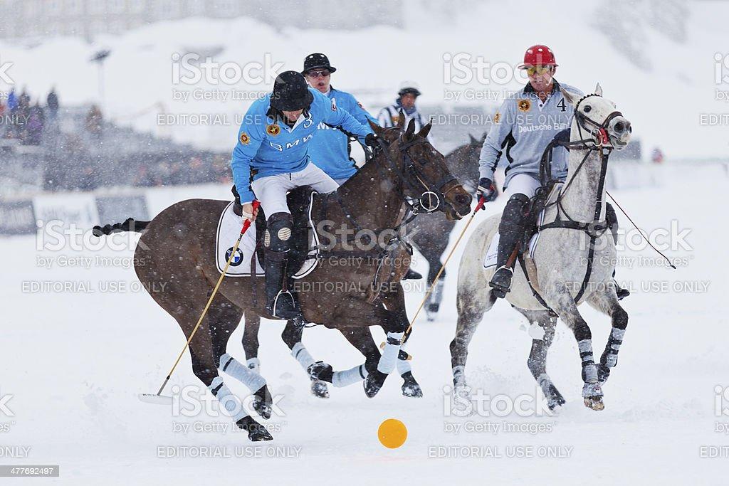Snow Polo Dribbling royalty-free stock photo