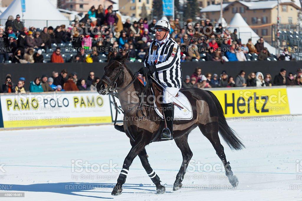 Snow Polo Umpire royalty-free stock photo